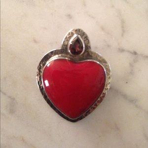 Jewelry - NWOT*.925 Sterling Sponge Coral & Garnet Pendant!!